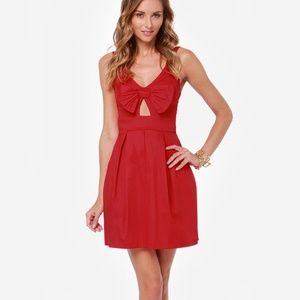 Lulu's Red Bow Front Mini Dress